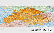 Political Shades Panoramic Map of Houaphanh, lighten