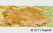 Political Shades Panoramic Map of Houaphanh, physical outside