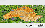 Political Shades Panoramic Map of Houaphanh, satellite outside