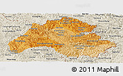 Political Shades Panoramic Map of Houaphanh, shaded relief outside
