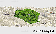 Satellite Panoramic Map of Samneua, shaded relief outside