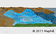 Political Shades Panoramic Map of Khammouane, darken