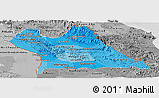 Political Shades Panoramic Map of Khammouane, desaturated
