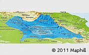 Political Shades Panoramic Map of Khammouane, physical outside