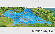Political Shades Panoramic Map of Khammouane, satellite outside