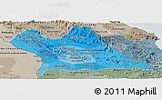 Political Shades Panoramic Map of Khammouane, semi-desaturated
