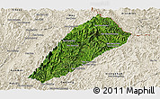 Satellite Panoramic Map of Ngoy, shaded relief outside