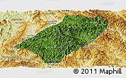 Satellite Panoramic Map of Viengkham, physical outside