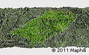 Satellite Panoramic Map of Viengkham, semi-desaturated