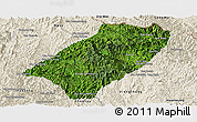 Satellite Panoramic Map of Viengkham, shaded relief outside