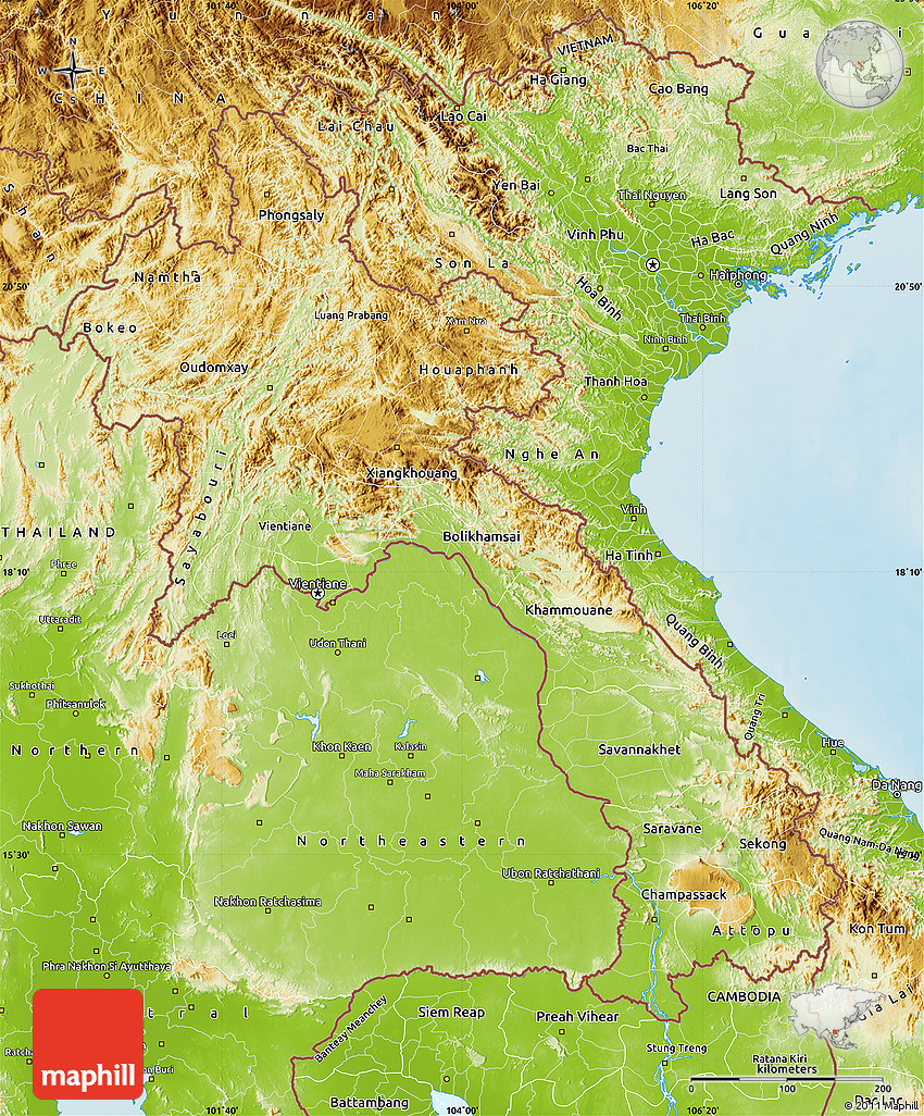 Physical Map of Laos