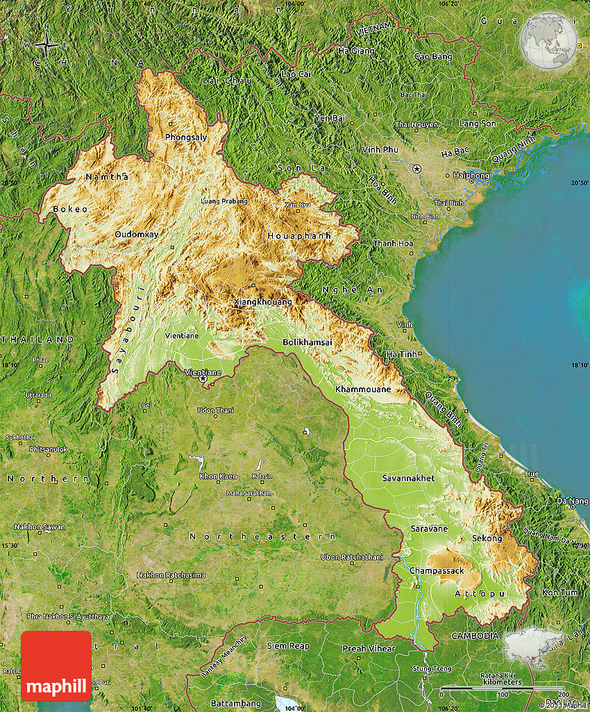 Laos: Physical Map Of Laos, Satellite Outside