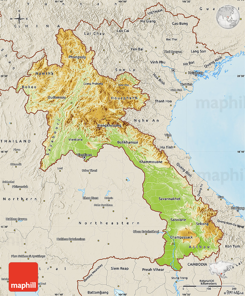 Physical Map of Laos, shaded relief outside