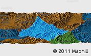 Political Panoramic Map of Long, darken