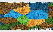 Political Panoramic Map of Namtha, darken