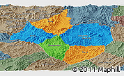 Political Panoramic Map of Namtha, semi-desaturated