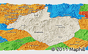 Shaded Relief Panoramic Map of Namtha, political outside