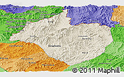 Shaded Relief Panoramic Map of Namtha, political shades outside