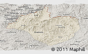 Shaded Relief Panoramic Map of Namtha, semi-desaturated