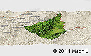 Satellite Panoramic Map of Sing, shaded relief outside