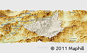 Shaded Relief Panoramic Map of Sing, physical outside