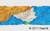 Shaded Relief Panoramic Map of Sing, political outside