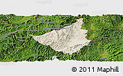 Shaded Relief Panoramic Map of Sing, satellite outside