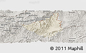 Shaded Relief Panoramic Map of Sing, semi-desaturated