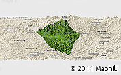Satellite Panoramic Map of Viengphoukha, shaded relief outside