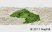 Satellite Panoramic Map of Houne, shaded relief outside