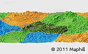 Satellite Panoramic Map of Pak Beng, political outside