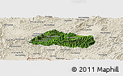 Satellite Panoramic Map of Pak Beng, shaded relief outside