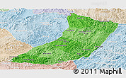Political Shades Panoramic Map of Oudomxay, lighten