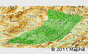 Political Shades Panoramic Map of Oudomxay, physical outside