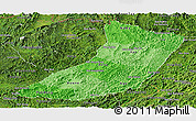 Political Shades Panoramic Map of Oudomxay, satellite outside