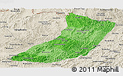 Political Shades Panoramic Map of Oudomxay, shaded relief outside