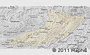 Shaded Relief Panoramic Map of Oudomxay, desaturated