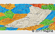 Shaded Relief Panoramic Map of Oudomxay, political outside