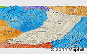 Shaded Relief Panoramic Map of Oudomxay, political shades outside