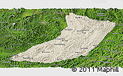 Shaded Relief Panoramic Map of Oudomxay, satellite outside