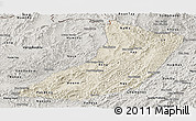 Shaded Relief Panoramic Map of Oudomxay, semi-desaturated