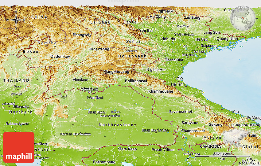 Physical Panoramic Map of Laos