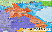 Political Shades Panoramic Map of Laos