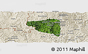 Satellite Panoramic Map of Boun Tay, shaded relief outside
