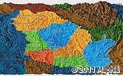 Political Panoramic Map of Phongsaly, darken