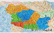 Political Panoramic Map of Phongsaly, lighten