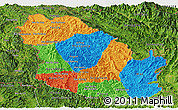 Political Panoramic Map of Phongsaly, satellite outside