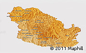 Political Shades Panoramic Map of Phongsaly, cropped outside
