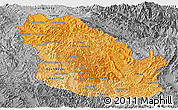 Political Shades Panoramic Map of Phongsaly, desaturated