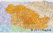 Political Shades Panoramic Map of Phongsaly, lighten